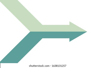Isometric arrow formed by two merging grey and green lines on white background. Partnership, merger, alliance and integration concept. Flat design. Vector illustration, no transparency, no gradients