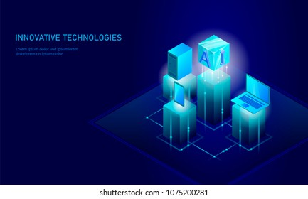 Isometric artificial intelligence business concept. Blue glowing isometric personal information data connection pc smartphone future technology. 3D infographic vector illustration