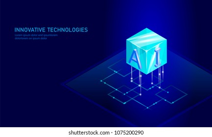 Isometric artificial intelligence business concept. Blue glowing isometric personal information data connection future technology. 3D infographic vector illustration