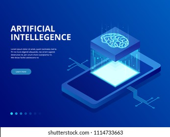 Isometric artificial intelligence business concept. Technology and engineering concept, data connection pc smartphone future technology.