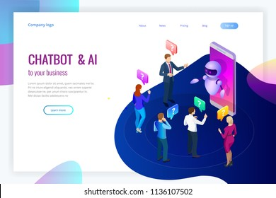 Isometric artificial intelligence. Chat bot and future marketing. AI and business IOT concept. Mans and women chatting with chatbot application. Dialog help service. Vector illustration.