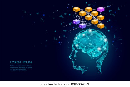 Isometric artificial intelligence human brain neural network business concept. Blue glowing personal information data connection future technology. 3D infographic vector illustration