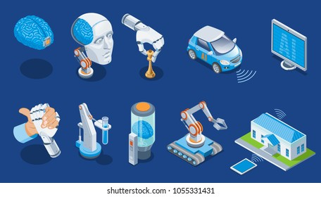 Isometric artificial intelligence set with human brain robotic arm playing chess monitor electric car medical industrial robots smart home isolated vector illustration
