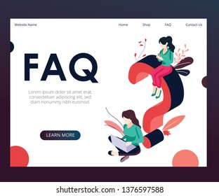 Isometric Artwork Concept of FAQ, Where the Artwork is shown of people asking question to other people.