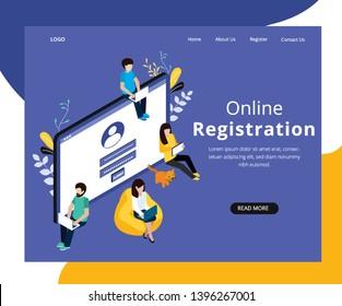 Isometric Artwork Concept of Online Registration
