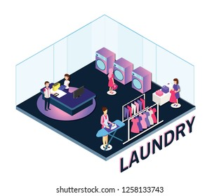 Isometric Artwork of People in a laundry where a lady is ironing clothes, A man is doing his billing at the counter and a lady is going to one of the washing machine to do her laundry.