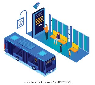 Isometric Artwork  of People Waiting at the Bus stop but a man is booking the tickets online rather than waiting for the bus.