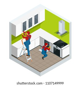 Isometric assembly of kitchen of furniture in the studio apartment concept. Repairman in overalls repairing cabinet hinge in kitchen vector illustration.