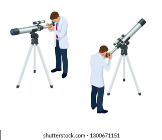 Isometric astronomer through the telescope looks at the sky isolated on white background