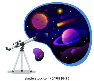 Isometric astronomical observatory dome. Astronomical cosmos. Astronomer looking through telescope on planets, stars and comets. Astronomical telescope tube and cosmos.