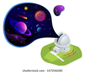Isometric astronomical observatory dome. Astronomical telescope tube and cosmos. Astronomer looking through telescope on planets, stars and comets. Astronomical telescope tube and cosmos.