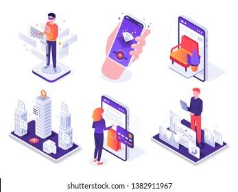 Isometric augmented reality smartphone. Mobile AR platform, virtual game and smartphones 3d navigation vector concept illustration set