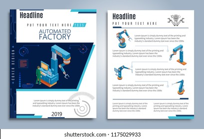 Isometric automated factory brochures with operator and different industrial mechanical robotic arms vector illustration