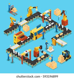 Isometric automated production line concept with people robotic arms and industrial automatic manufacturing process vector illustration