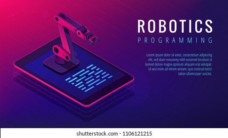Isometric automated robot arm on tablet screen. Robotics research engineering and robotic systems programming in vibrant gradient violet color. Vector 3d isometric landing page concept.
