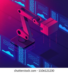 Isometric automated robot arm. Smart automated robotic arm holding box in a warehouse. Modern logistics center in vibrant gradient violet color. Vector 3d isometric illustration ultraviolet background
