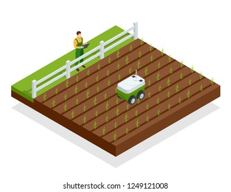 Isometric automation smart farming on the field. Artificial intelligence robots in agricultural. Organic food, agriculture concept.