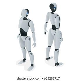 Isometric autonomous Robot. Flat vector Isolated on white illustration. Artificial intelligence