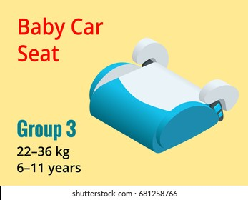 Isometric baby car seat group 3 vector illustration. Road Safety Type of child restraint rearward-facing baby seat, forward-facing child seat, booster cushion