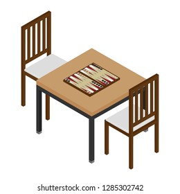 Isometric backgammon wooden board and chips for game. Table with board game and two chairs