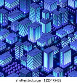 Isometric background city urban seamless pattern of building house skyscraper architecture vector illustration
