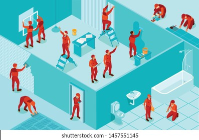 Isometric background with workers from home repair service painting walls laying flooring installing windows plumbing 3d vector illustration