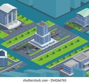 isometric bank building customers, vector