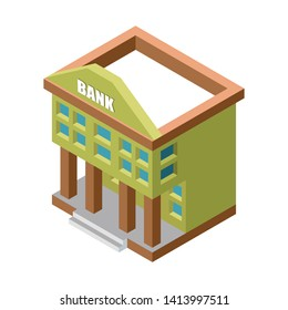 Isometric bank building vector illustration isolated on white background