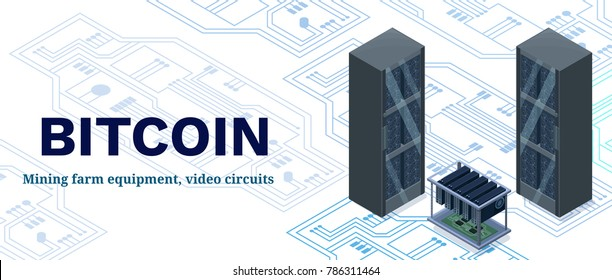 Isometric banner with bitcoin mining farm, video circuit and server, computer, cryptocurrency mining concept, financial isometric 3d vector illustration