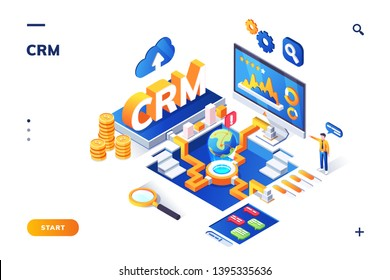 Isometric banner for crm or erp. Customer relationship management for business banner. Cloud service for company analysis or analytics technology. Marketing data and sale plan concept. Client database