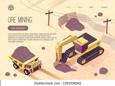 Isometric Banner for Ore Mining with Extractive Machinery. Vector Illustration with Coal Excavator and Dumping Truck Working at Opencast Mine. Heavy Industry and Usage of Quarry Earthworks Equipment