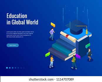Isometric banner for web Education in Global world, online learning concept. Books step education. Vector illustration.