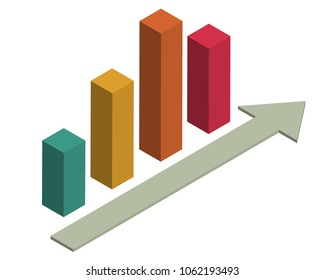 Isometric of bar chart icon. Infographic.