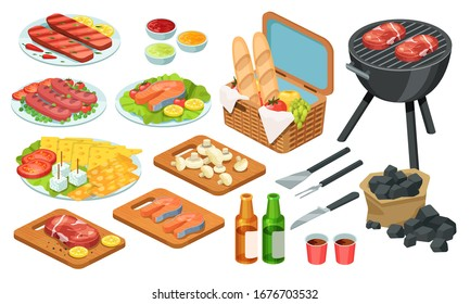 Isometric barbecue food, bbq grill meat, vector illustration set. Cartoon grilled beef, fish steak with various hot tomato sauce on picnic summer party, cooking food on fire 3d icons isolated on white