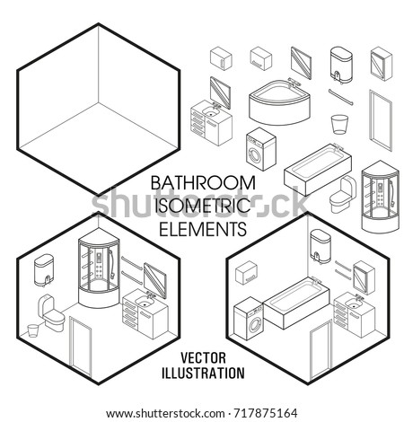 Isometric Bathroom Interior Constructor Vector Set Stock Vector