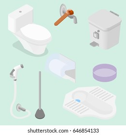 isometric Bathroom and toilet equipment accessories, Vector illustration, wc part, isolated