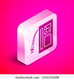 Isometric Battery icon isolated on pink background. Accumulator battery energy power and electricity accumulator battery. Silver square button. Vector Illustration