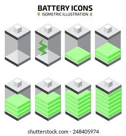 isometric battery icon set