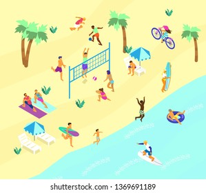 Isometric beach scene with lots of different people doing summer sports and relaxing. Summer outdoors activities. Beach volley, soccer, surfing, yoga on the beach, bike ride.