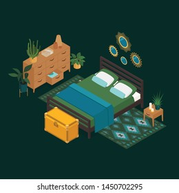 Isometric bedroom in emerald green. Vector illustration in flat design.