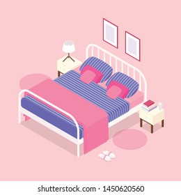 Isometric bedroom in rose pink. Vector illustration in flat design.
