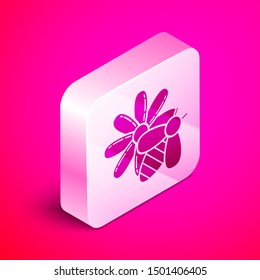 Isometric Bee and flower icon isolated on pink background. Sweet natural food. Honeybee or apis with wings symbol. Flying insect. Silver square button. Vector Illustration