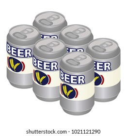Isometric Beer Can Six Pack