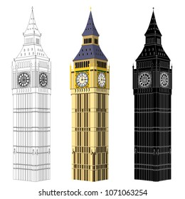 Isometric Big Ben, Elizabeth Tower, vector with customisable colors