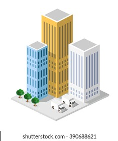 Isometric in a big city with streets, skyscrapers, cars and trees.