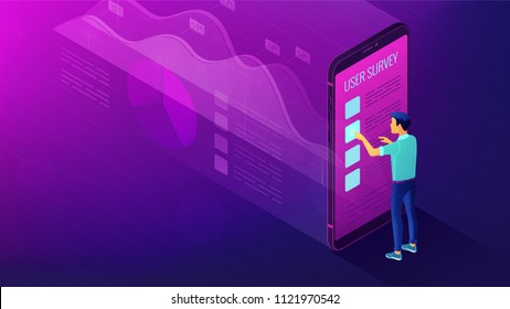 Isometric big data analysis, feedback and research concept. A man in front of mobile screen with visual data analysis statistics pie charts and graphics in violet color. Vector ultraviolet background.