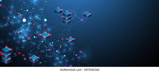 Isometrisches Big Data-Konzept, Datenbank. Abstrakte Technologie, Hintergrund. Vektorgrafik