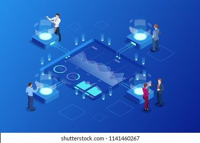 Isometric Big Data Network visualization, advanced analytics, interacting Data analysis, research, audit, demographics, Artificial Intelligence, planning, statistics, digital DNA structure, management