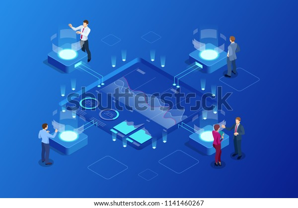 Isometric Big Data Network Visualization Advanced Stock Vector