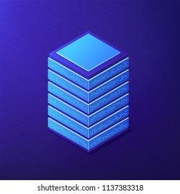 Isometric big data tools to store and analyse data. Business Intelligence, software, open source framework and NoSql solutions concept on ultra violet background. Vector 3d isometric illustration.